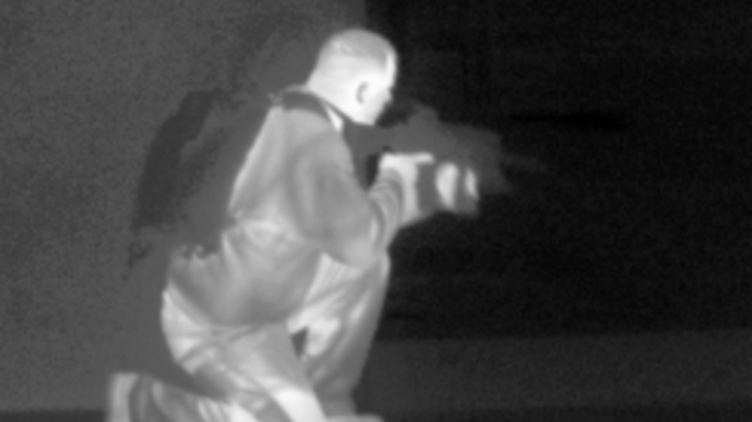 Thermal Imaging let's you see an image based on the differences in temperature - here's an example where white is hot