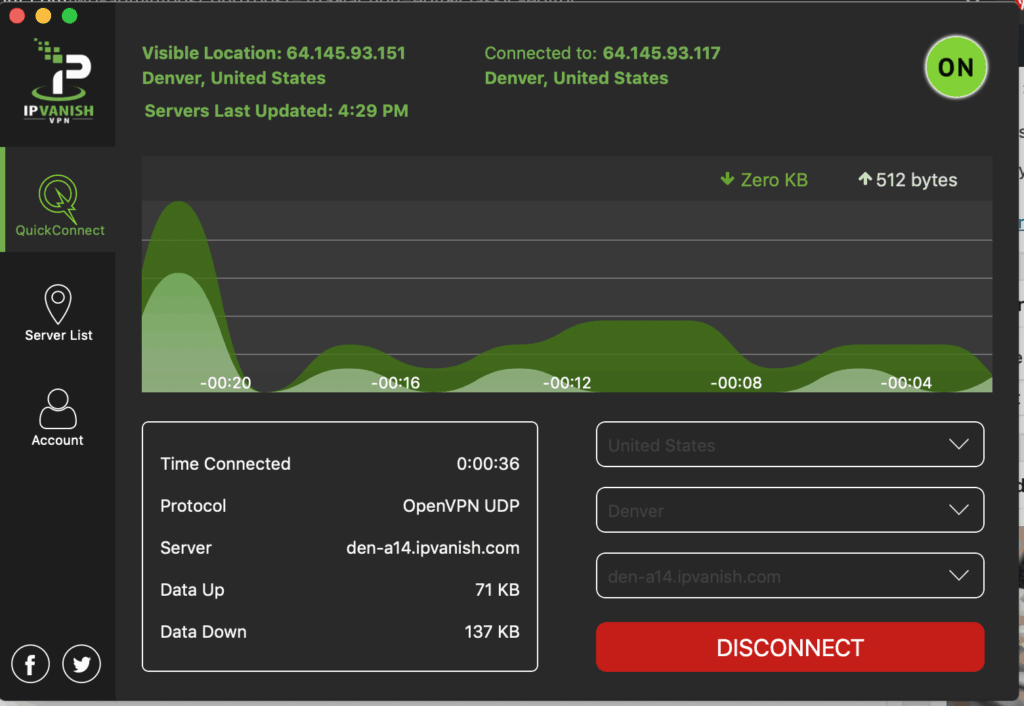 IPVanish VPN Client on MacOS - Here I've connected and chosen a server in Denver, CO.