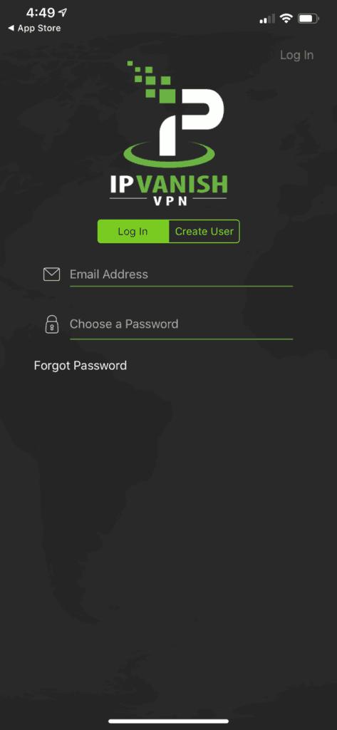 IPVanish iOS Client - Login Prompt
