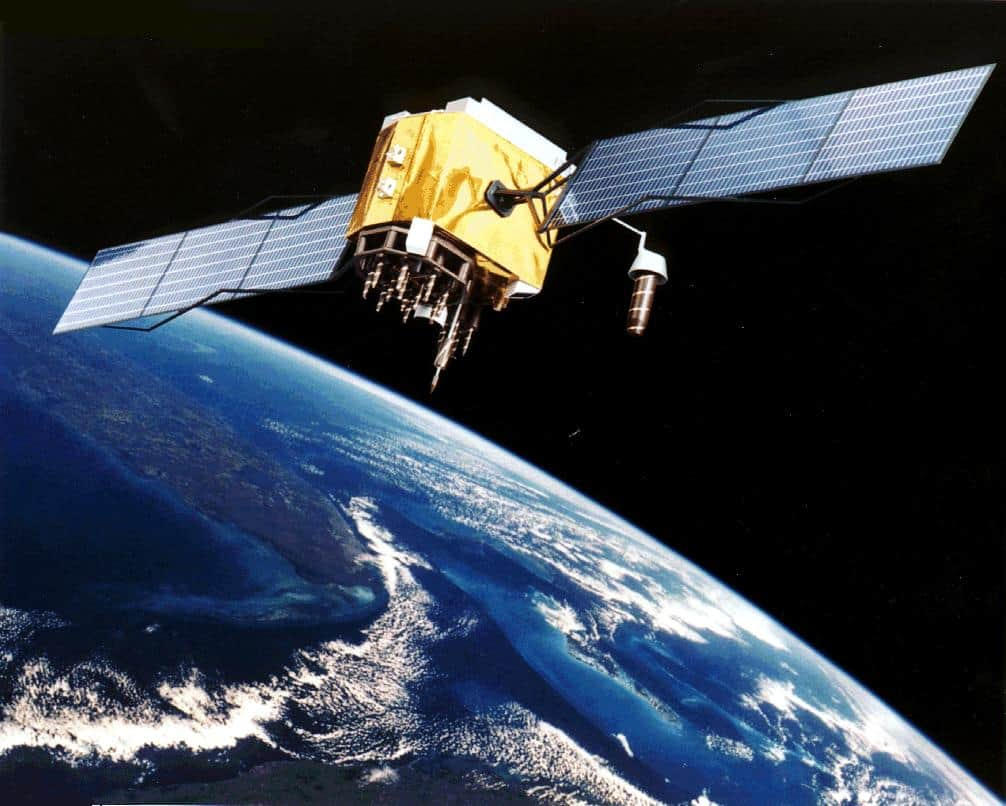 Artist's conception of GPS Block II-F satellite in Earth orbit.