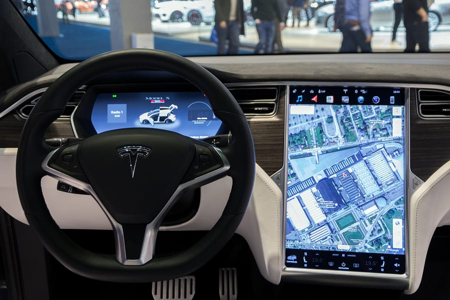 The satnav system in a Tesla Model X SUV