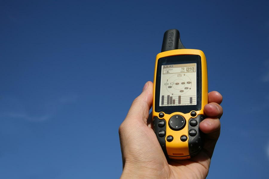 A handheld GPS receiver