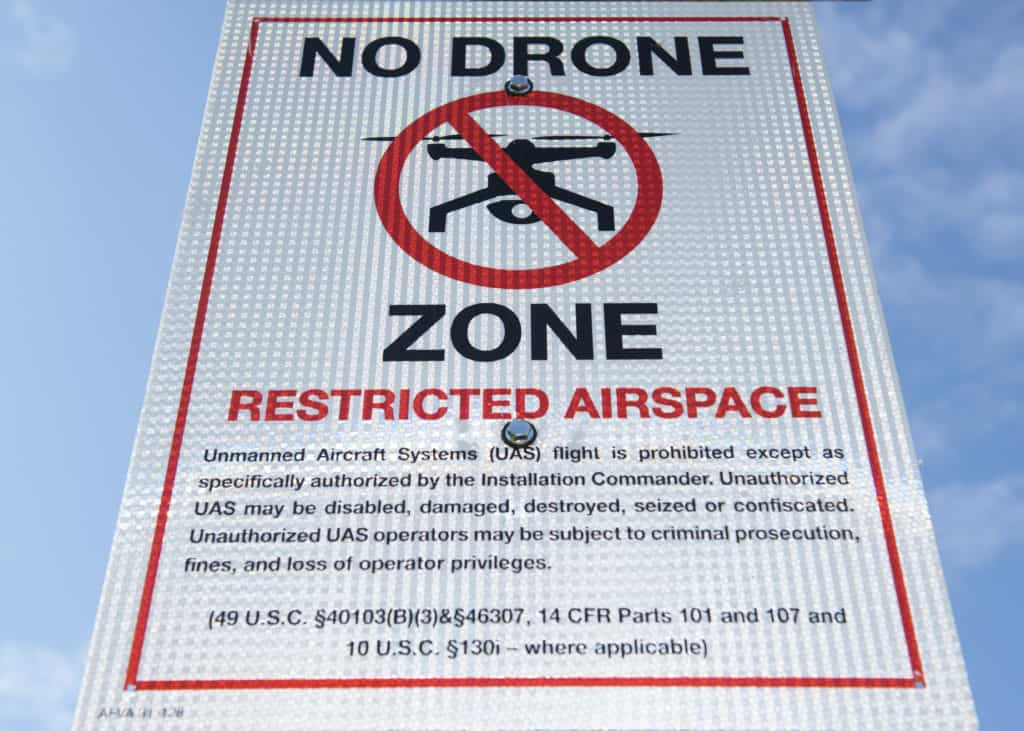 No Drone Zone sign - restricted airspace