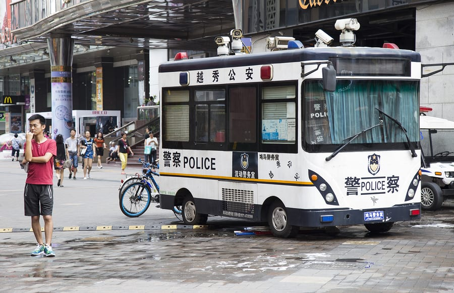 A police bus in China