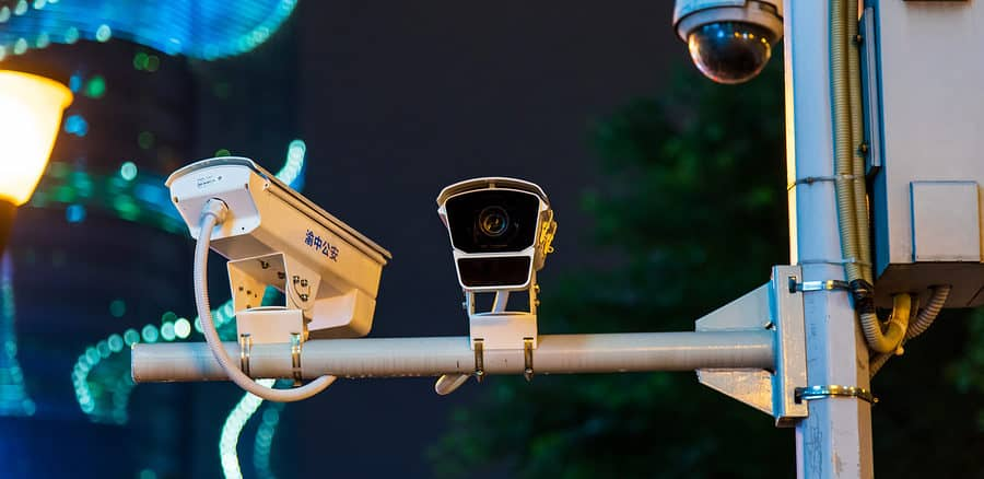 A CCTV Surveillance camera on a street in China